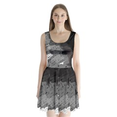 Black And Gray Pattern Split Back Mini Dress