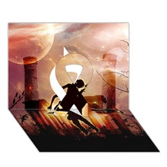 Dancing In The Night With Moon Nd Stars Ribbon 3d Greeting Card (7x5)