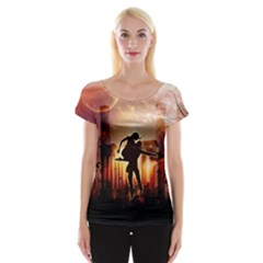 Dancing In The Night With Moon Nd Stars Women s Cap Sleeve Top