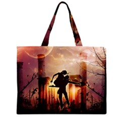 Dancing In The Night With Moon Nd Stars Zipper Large Tote Bag