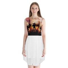 Dancing In The Night With Moon Nd Stars Sleeveless Chiffon Dress