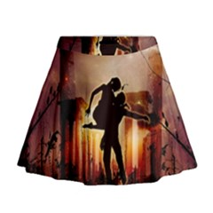 Dancing In The Night With Moon Nd Stars Mini Flare Skirt