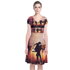 Dancing In The Night With Moon Nd Stars Short Sleeve Front Wrap Dress