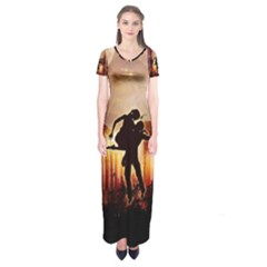 Dancing In The Night With Moon Nd Stars Short Sleeve Maxi Dress