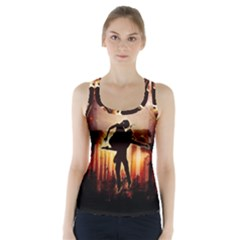 Dancing In The Night With Moon Nd Stars Racer Back Sports Top