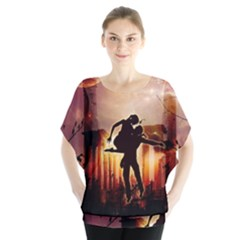 Dancing In The Night With Moon Nd Stars Batwing Chiffon Blouse