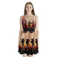 Dancing In The Night With Moon Nd Stars Split Back Mini Dress