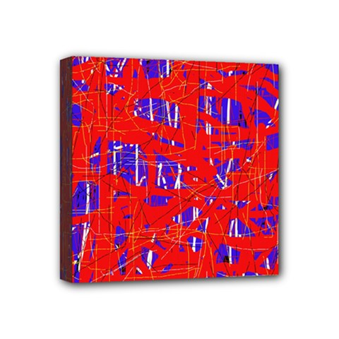 Blue and red pattern Mini Canvas 4  x 4