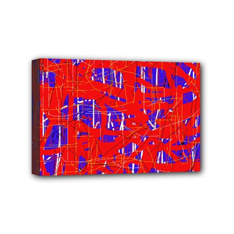 Blue and red pattern Mini Canvas 6  x 4