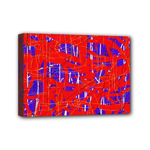 Blue and red pattern Mini Canvas 7  x 5