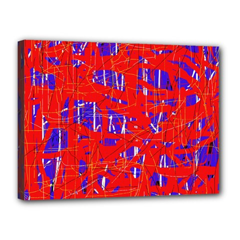 Blue and red pattern Canvas 16  x 12