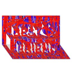 Blue and red pattern Best Friends 3D Greeting Card (8x4)