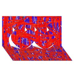 Blue and red pattern Twin Hearts 3D Greeting Card (8x4)
