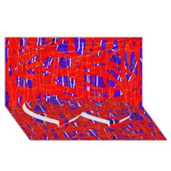 Blue and red pattern Twin Heart Bottom 3D Greeting Card (8x4)