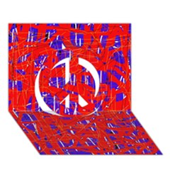 Blue and red pattern Peace Sign 3D Greeting Card (7x5)