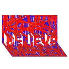 Blue and red pattern BELIEVE 3D Greeting Card (8x4)