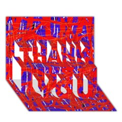 Blue and red pattern THANK YOU 3D Greeting Card (7x5)