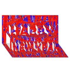 Blue and red pattern Happy New Year 3D Greeting Card (8x4)