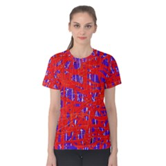 Blue and red pattern Women s Cotton Tee