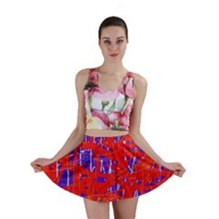 Blue and red pattern Mini Skirt