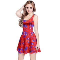 Blue and red pattern Reversible Sleeveless Dress