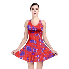 Blue and red pattern Reversible Skater Dress