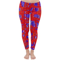 Blue and red pattern Winter Leggings