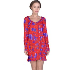 Blue and red pattern Long Sleeve Nightdress