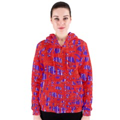 Blue and red pattern Women s Zipper Hoodie