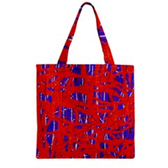 Blue and red pattern Zipper Grocery Tote Bag