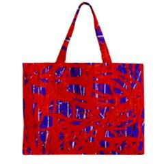 Blue and red pattern Zipper Mini Tote Bag