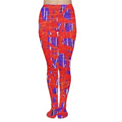 Blue and red pattern Women s Tights
