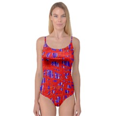 Blue and red pattern Camisole Leotard