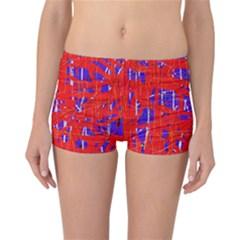 Blue and red pattern Reversible Boyleg Bikini Bottoms