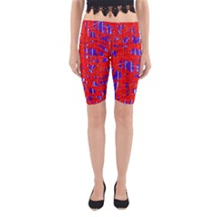 Blue And Red Pattern Yoga Cropped Leggings