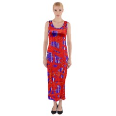 Blue and red pattern Fitted Maxi Dress