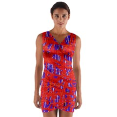 Blue and red pattern Wrap Front Bodycon Dress