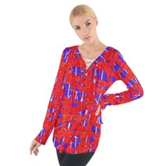 Blue and red pattern Women s Tie Up Tee