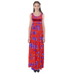 Blue and red pattern Empire Waist Maxi Dress