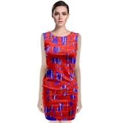 Blue And Red Pattern Classic Sleeveless Midi Dress