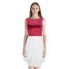 Blue and red pattern Sleeveless Chiffon Dress