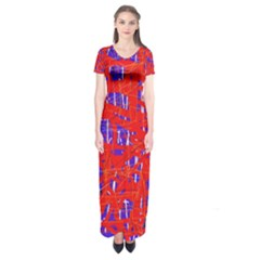 Blue and red pattern Short Sleeve Maxi Dress