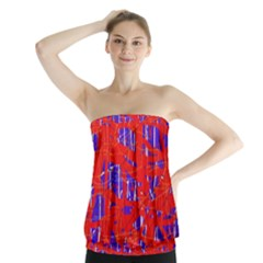 Blue And Red Pattern Strapless Top