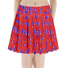 Blue and red pattern Pleated Mini Mesh Skirt