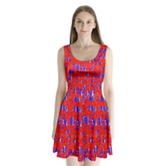 Blue And Red Pattern Split Back Mini Dress