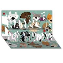 Dog Pattern Happy Birthday 3d Greeting Card (8x4)