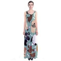 Dog Pattern Sleeveless Maxi Dress