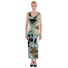 Dog Pattern Fitted Maxi Dress
