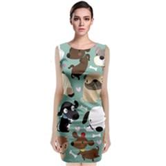 Dog Pattern Classic Sleeveless Midi Dress