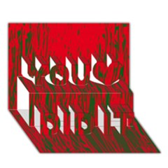 Red and green pattern You Did It 3D Greeting Card (7x5)